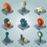 Isometriska symboler för Startup färglutning Royaltyfria Bilder