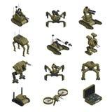 Isometriska symboler för stridighetrobotar royaltyfri illustrationer