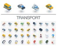 Isometriska symboler för transport och för trans. vektor 3d vektor illustrationer