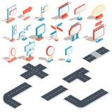 Isometriska symboler för vektor av affischtavlor som annonserar baner, vägmärken, riktningstecken stock illustrationer
