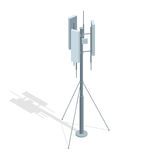Isometriska telekommunikationtorn En illustration för lägenhet för vektor för antenn för mobiltelefonkommunikationsrepetervapen royaltyfri illustrationer