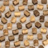 Isometriska Toy Wooden Houses i ett åtsittande raster på en enkel konkret yttersida stock illustrationer