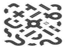 Isometriska vägar Föreningspunkter för trafikgataväg, huvudvägöversiktsbeståndsdelar Staden sänder uppsättningen för vektorn 3d vektor illustrationer