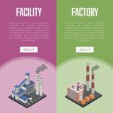 Isometriska vertikala reklamblad för föroreningbransch royaltyfri illustrationer