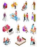 Isometriskt äldre folk Höga personer, hjälpredasjuksköterska Medicinsk hem- terapi för pensionärer Folk i rullstol 3d vektor illustrationer
