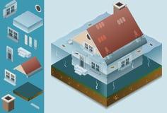 isometriskt översvämmat hus vektor illustrationer