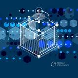 Isometriskt abstrakt mörker - blå bakgrund med linjärt dimensionellt stock illustrationer