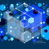 Isometriskt abstrakt mörker - blå bakgrund med linjärt dimensionellt royaltyfri illustrationer