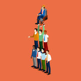 Isometriskt affärsfolk Team Work Leadership Concept Arkivbild
