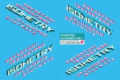 Isometriskt alfabet 4 i 1 bokstäver 3d och nummer arkivbild