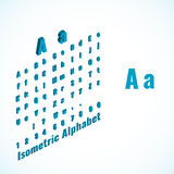 Isometriskt alfabet och liten och stor för bokstavsdesign beståndsdel för stilsort, Arkivbilder