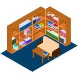 Isometriskt arkiv Bekvämt ställe för läseböcker Fotografering för Bildbyråer