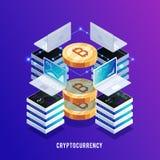 Isometriskt begrepp av att bryta bitcoin Stock Illustrationer