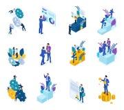 Isometriskt begrepp av mekanismen av affärsoperationen, Analyticsdata, att uppnå målet För website och mobil royaltyfri bild