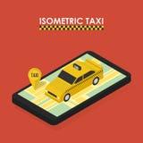 Isometriskt begrepp av mobilen app för att boka taxien Royaltyfri Fotografi