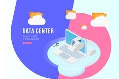 Isometriskt begrepp för datorhall med den online-mapplagring, moln och bärbara datorn Plan 3d illustration EPS10 Stock Illustrationer