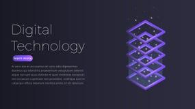 Isometriskt begrepp för Digital teknologi Illustration av futuristisk datacenter, stora data - bearbeta, vara värd för server vektor illustrationer