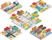 Isometriskt begrepp för lager med arbetare, lagerlagringsbyggnad som laddar transport, leveranssändningsaskvektor stock illustrationer