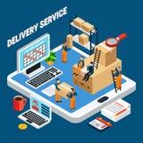Isometriskt begrepp för logistik stock illustrationer