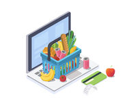 Isometriskt begrepp för online-shopping Shoppingkorgen med ny mat och drinken är på bärbar datortangentbordet också vektor för co Arkivfoto