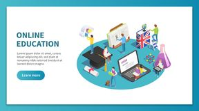 Isometriskt begrepp för online-utbildning Studera för internet och rengöringsdukkurs Lära studentwebsiten som landar sidavektorn stock illustrationer