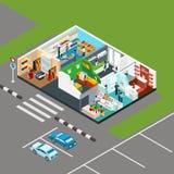 Isometriskt begrepp för shoppinggalleria stock illustrationer