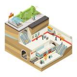 Isometriskt begrepp för underjordisk station royaltyfri illustrationer