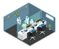 Isometriskt begrepp för vetenskapligt laboratorium stock illustrationer