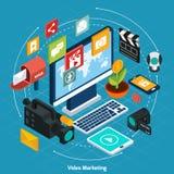 Isometriskt begrepp för video marknadsföring Royaltyfri Fotografi