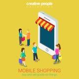 Isometriskt begrepp för mobil shoppingonline-lagere-kommers 3d rengöringsduk Arkivfoto