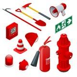 Isometriskt brandsäkerhet och skydd Plana symboler eldsläckare, slang, flamma, vattenpost, skyddande hjälm, larm, yxa
