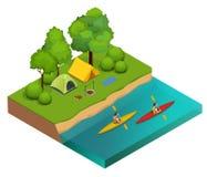 Isometriskt campa på flodbanken Tält, brasa och kayaking på floden semester- och feriebegrepp royaltyfri illustrationer