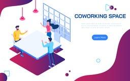 Isometriskt coworking utrymme Folk som diskuterar idéer för affärsplan i delad arbetsmiljö för Co-arbeteutrymme royaltyfri illustrationer
