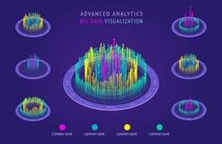 Isometriskt diagram 3D Analytiska stora data och visualization Presentationsdiagram, statistik av data och diagram vektor illustrationer