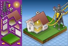 isometriskt drivet torn för elektriskt hus stock illustrationer