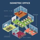 Isometriskt för golvbyggnad för kontor 3 plan royaltyfri illustrationer