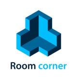 isometriskt för hörnblått för rum 3D symbol Fotografering för Bildbyråer
