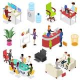 Isometriskt fastställt liv för företags kontor 3D stock illustrationer