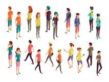 Isometriskt folk 3d Ung tillfällig personvektoruppsättning royaltyfri illustrationer