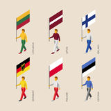 Isometriskt folk med flaggaTyskland, Lettland, Estland, Litauen, royaltyfri illustrationer