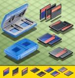 Isometriskt fotografi - Set av kort för 3 CF och ett blått Royaltyfri Fotografi