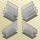 Isometriskt fotografi - Set av skrivbordorganisatörer Isoa Arkivbild