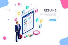 Isometriskt framstickande för affärsmanResume Resources Employer kund stock illustrationer