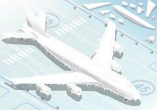 Isometriskt fryst flygplan i Front View vektor illustrationer