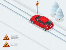 Isometriskt halt, is, vinter, snöväg och bilar vektor illustrationer