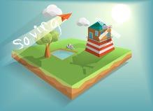 Isometriskt hus för vindturbin royaltyfri illustrationer