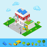 Isometriskt hus med solbatterier, garage royaltyfri illustrationer