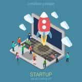 Isometriskt infographic begrepp för Startup rengöringsduk för lanseringsprocesslägenhet 3d stock illustrationer