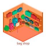 Isometriskt infographic Den plana inre av bagage shoppar Arkivfoton