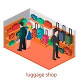 Isometriskt infographic Den plana inre av bagage shoppar Royaltyfri Foto